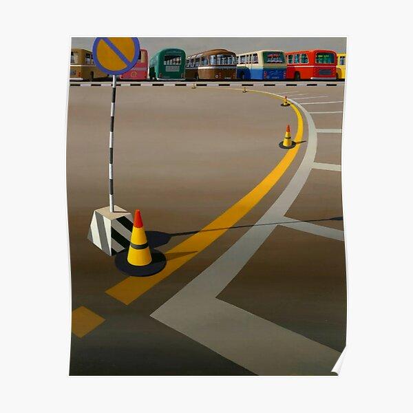 Print of original oil painting, 'Bus Terminus' (1973) by Jeffrey Smart Poster