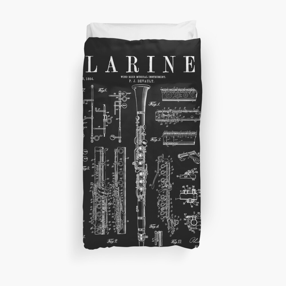 Clarinet Vintage Patent Clarinetist Drawing Print Duvet Cover