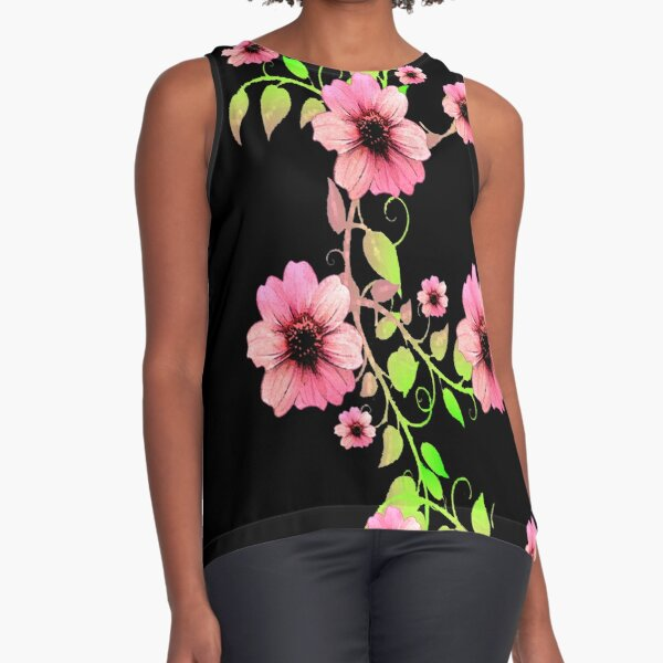 WATERCOLOR FLORAL GARLAND WITH LIGHT PINK FLOWERS Sleeveless Top