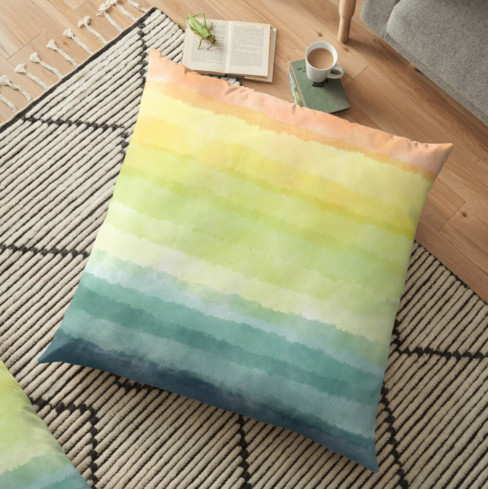 Retro breeze _ watercolour Floor Pillow