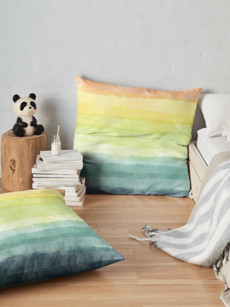 Alternate view of Retro breeze _ watercolour Floor Pillow