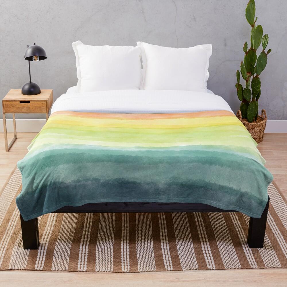 Retro breeze _ watercolour Throw Blanket