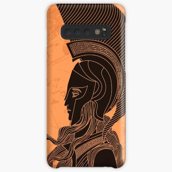 greek orange and black amphora drawing of athena Samsung Galaxy Snap Case
