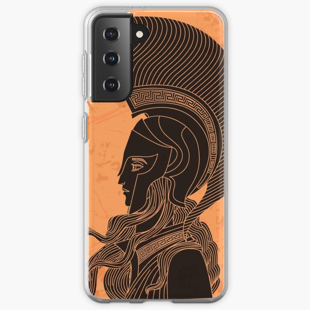 greek orange and black amphora drawing of athena Samsung Galaxy Phone Case