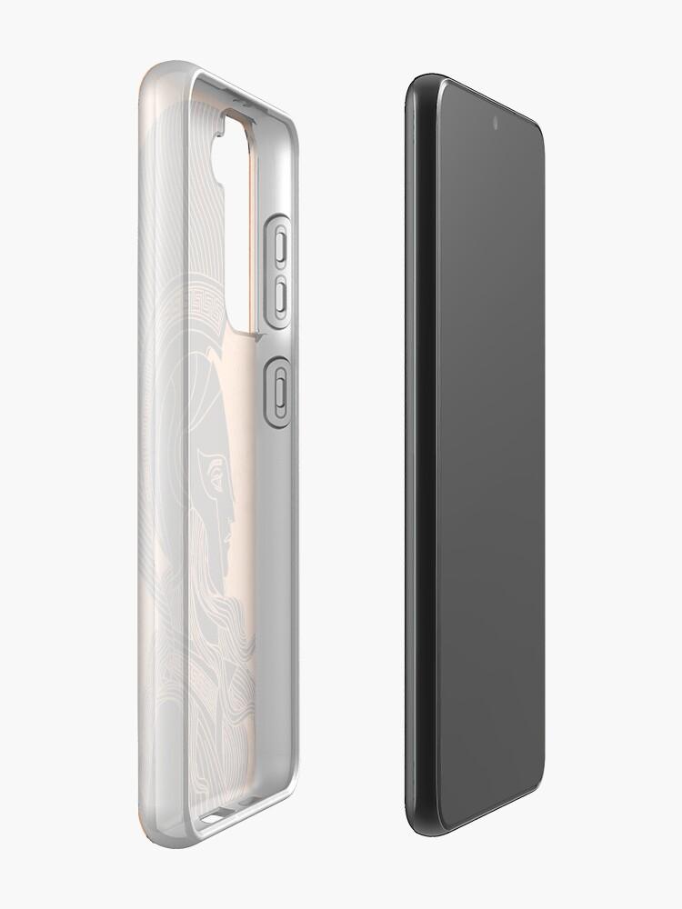 Alternate view of greek orange and black amphora drawing of athena Samsung Galaxy Phone Case