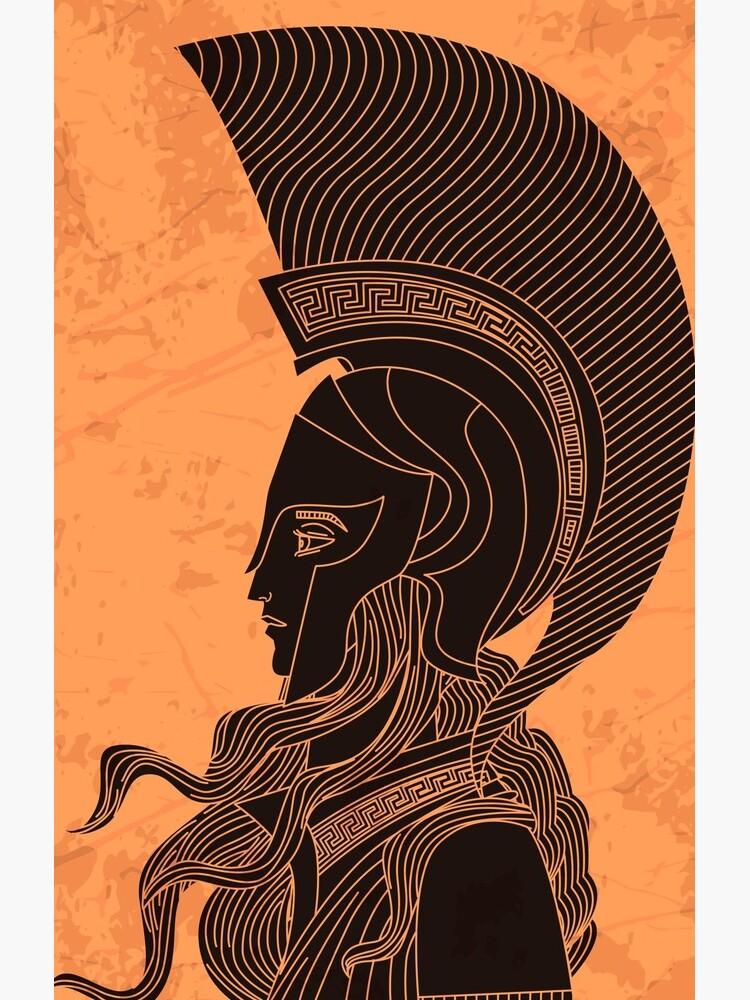 greek orange and black amphora drawing of athena by matintheworld