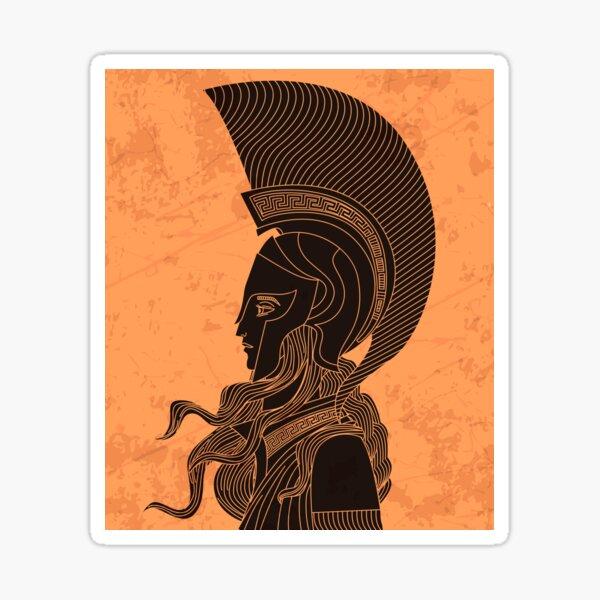 greek orange and black amphora drawing of athena Sticker