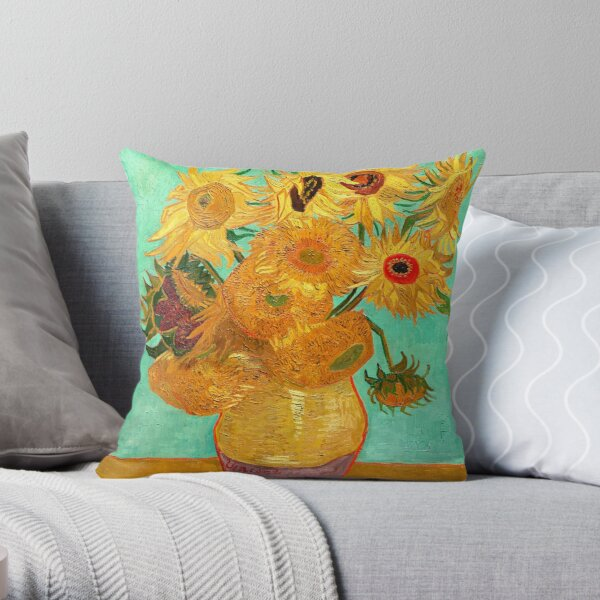 Vase With Twelve Sunflowers - Van Gogh Throw Pillow