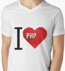 I love PHP Hearth Vector Polygons Men's V-Neck T-Shirt