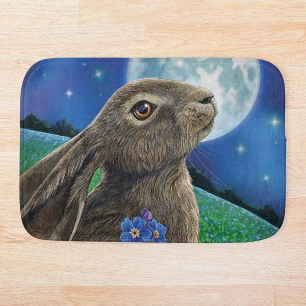 Moon Gazer Rabbit With Flower Funny Bunny Pet Animal Lover Bath Mat