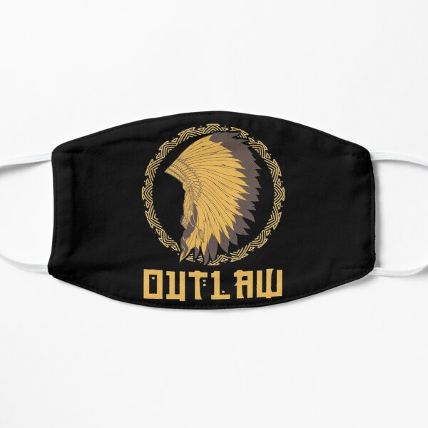 outlaw, native american, funny indian headdress Flat Mask