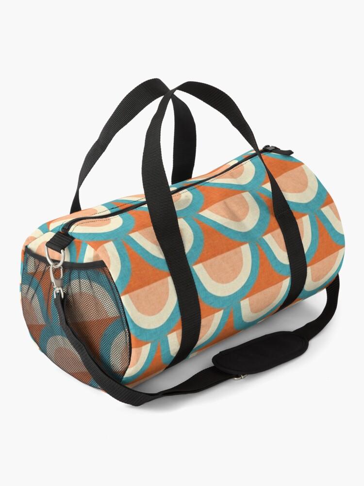 Alternate view of New Mid Mod Rainbow Magic Blue Orange #midcentury Duffle Bag