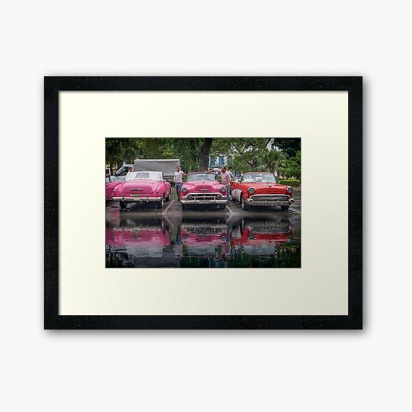Car flood Havana, Cuba Framed Art Print