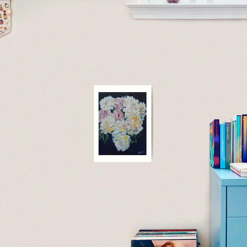 A floral bouquet painting of white, cream and pink peonies.  'Serenity' painted on canvas Art Print