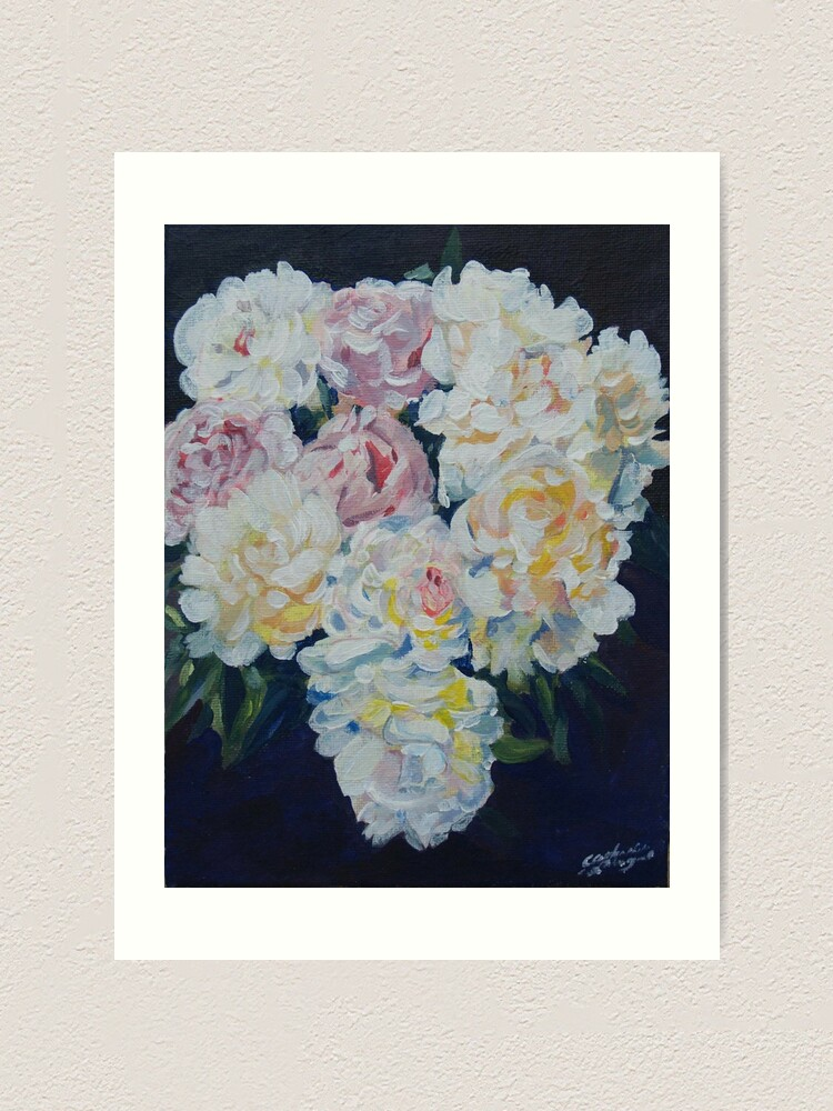 Alternate view of A floral bouquet painting of white, cream and pink peonies.  'Serenity' painted on canvas Art Print