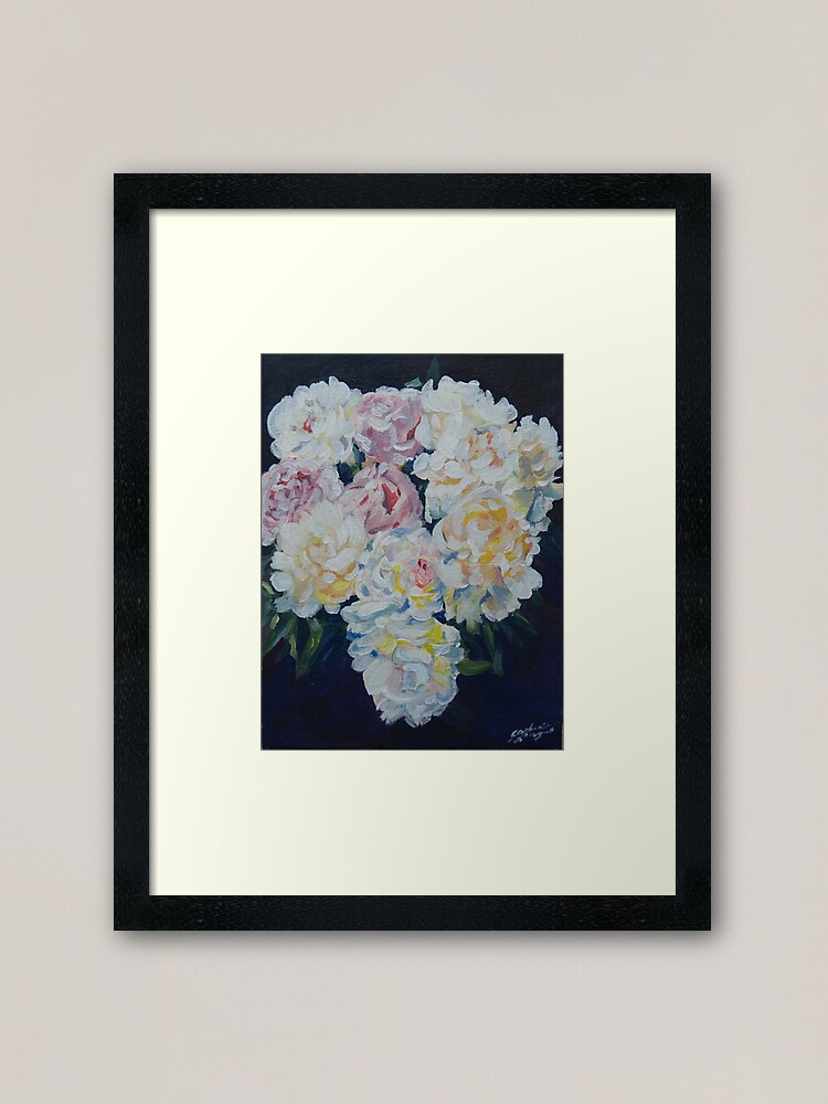 Alternate view of A floral bouquet painting of white, cream and pink peonies.  'Serenity' painted on canvas Framed Art Print
