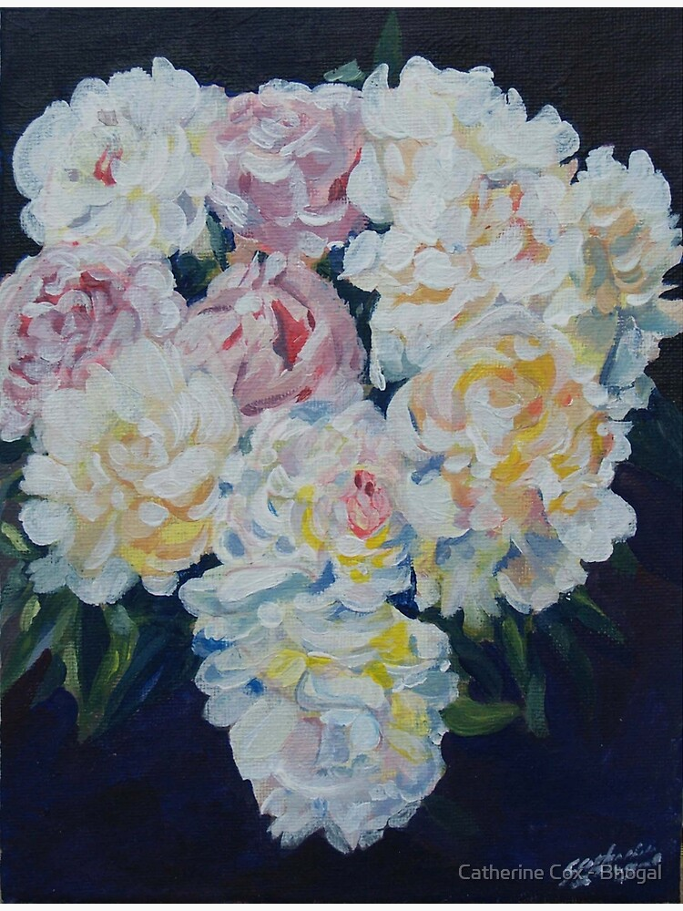 A floral bouquet painting of white, cream and pink peonies.  'Serenity' painted on canvas by Starsthatshine