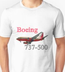 Southwest Airlines Boeing 737-500 w text Unisex T-Shirt