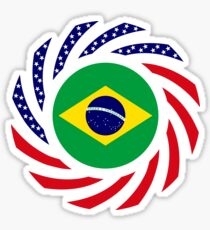 Brazilian American Multinational Patriot Flag Series Sticker
