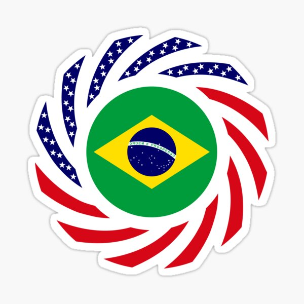 Brazilian American Multinational Patriot Flag Series Sticker