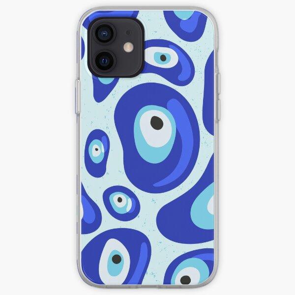 Blue Evil Eye Protection Pebbles Patterns iPhone Soft Case