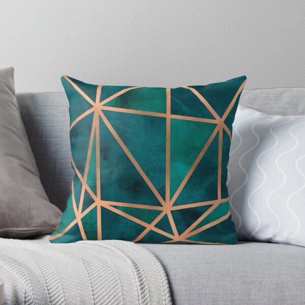 Copper & Emerald Geo Throw Pillow