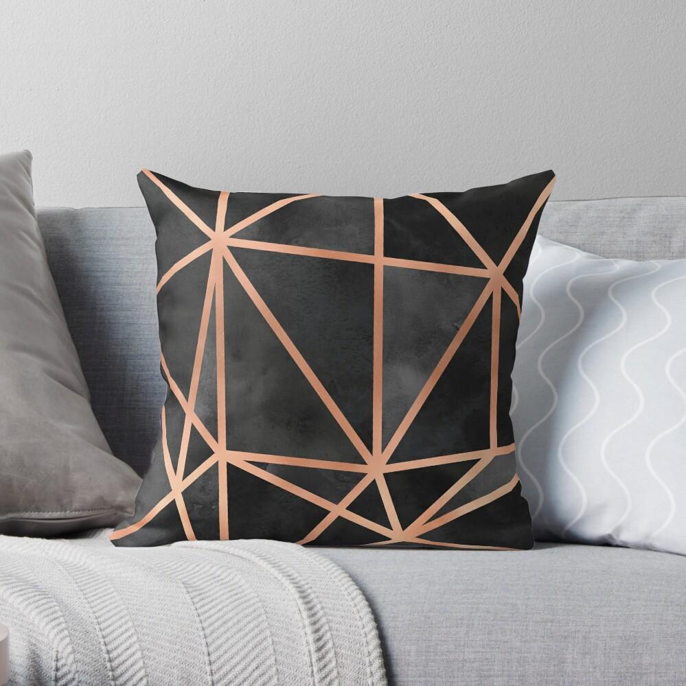 Black & Copper Geo Throw Pillow
