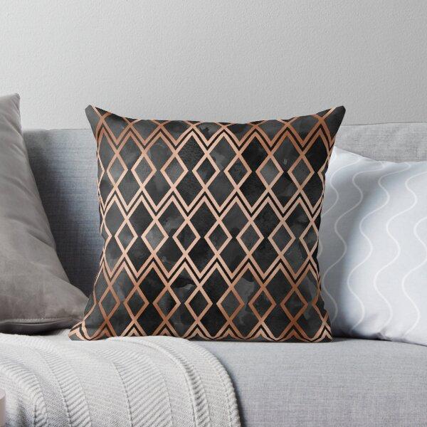 Copper & Black Geo Diamonds Throw Pillow