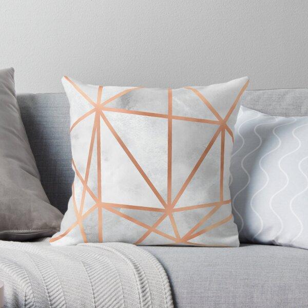 White & Copper Geo Throw Pillow