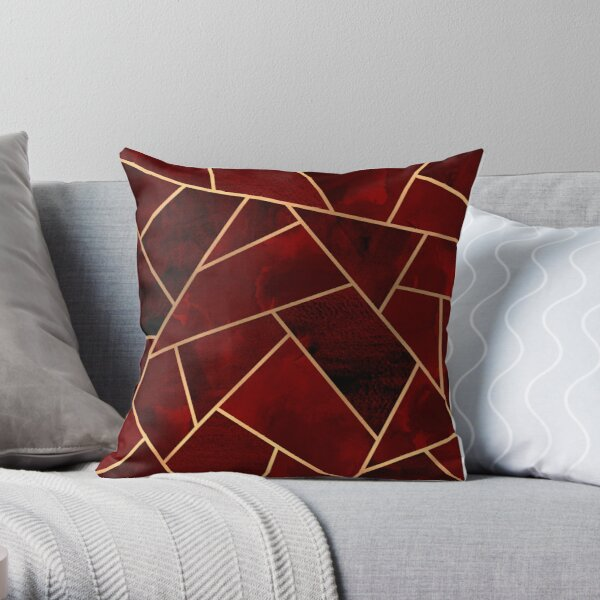 Red & Gold Geo Throw Pillow