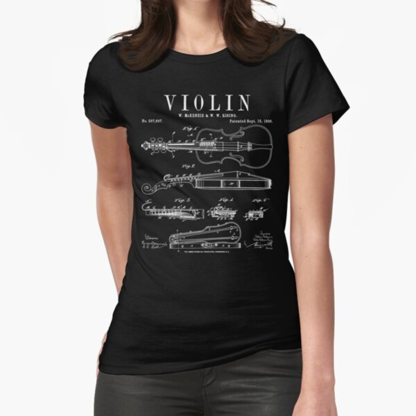 Violin Old Vintage Patent Drawing Print Fitted T-Shirt