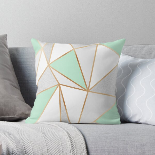 Mint Green, Grey & Gold Geo Throw Pillow