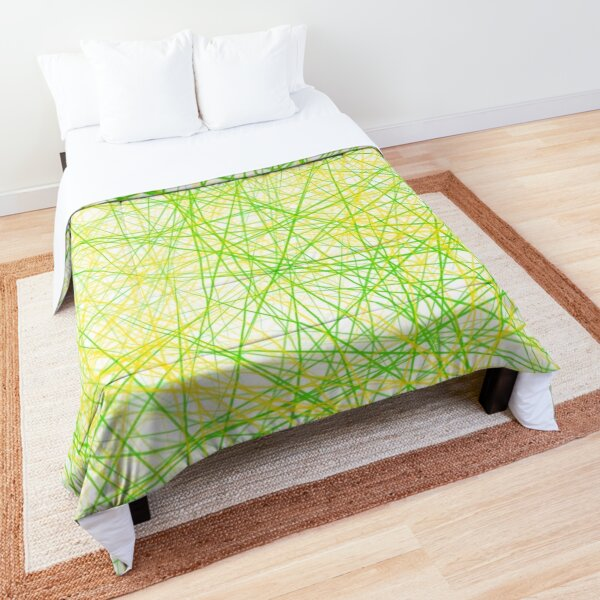 Lime Green and Yellow Modern Lines Comforter
