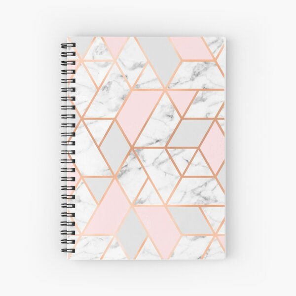 Rose Gold, Pink, Grey & Marble Geo Lines Spiral Notebook