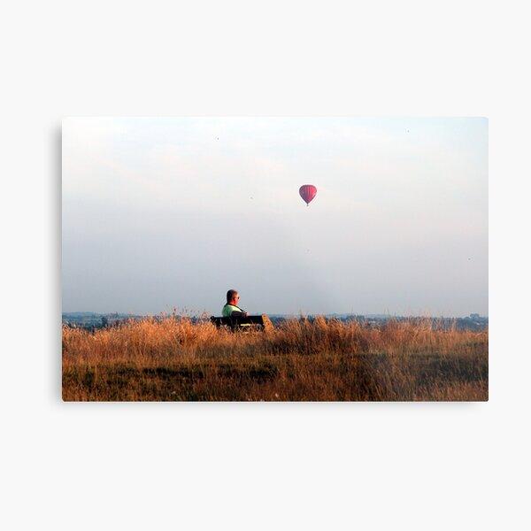 Man and balloon Metal Print