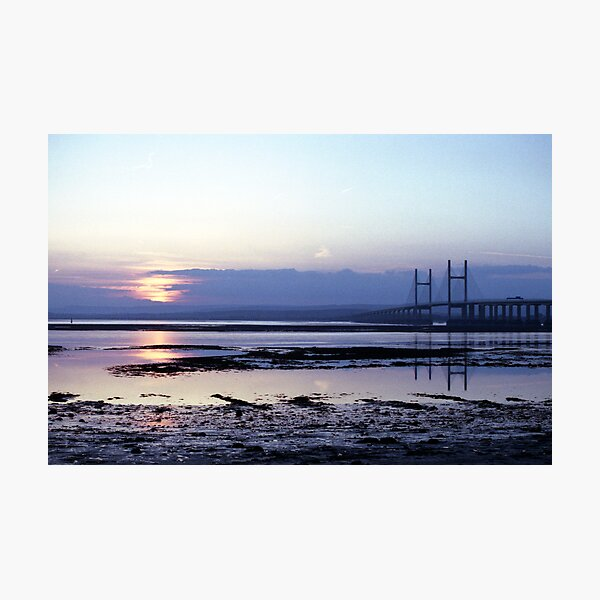 Sunset over Severn Beach and the Severn Crossing Photographic Print