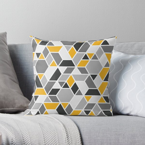 Abstract Geo - Yellow & Grey Throw Pillow