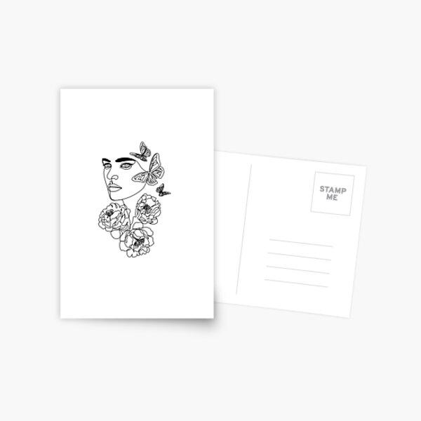 Woman Line Art Print Postcard