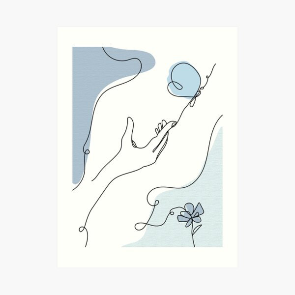 One-line Hand and Butterfly Art Print