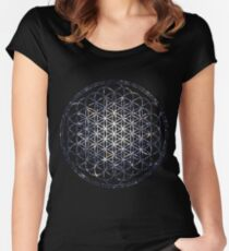 Flower Of Life - Sacred Geometry Star Cluster Women's Fitted Scoop T-Shirt