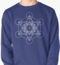 Metatron's Cube - Sacred Geometry White Ink Pullover