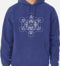 Metatron's Cube - Sacred Geometry White Ink Pullover Hoodie