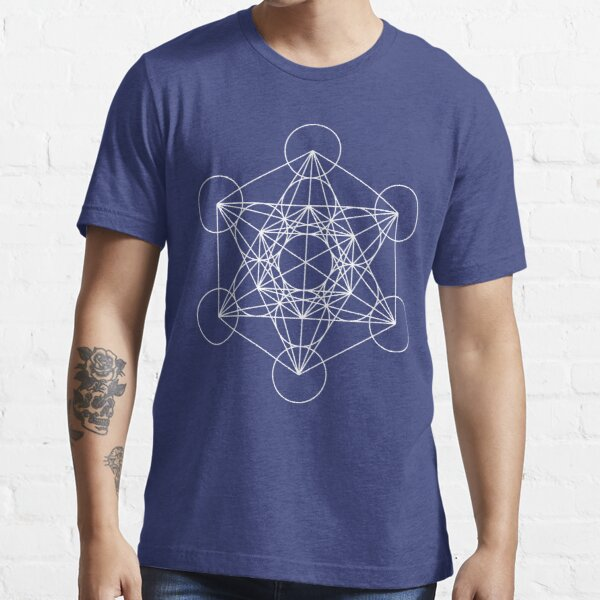 Metatron's Cube - Sacred Geometry White Ink Essential T-Shirt