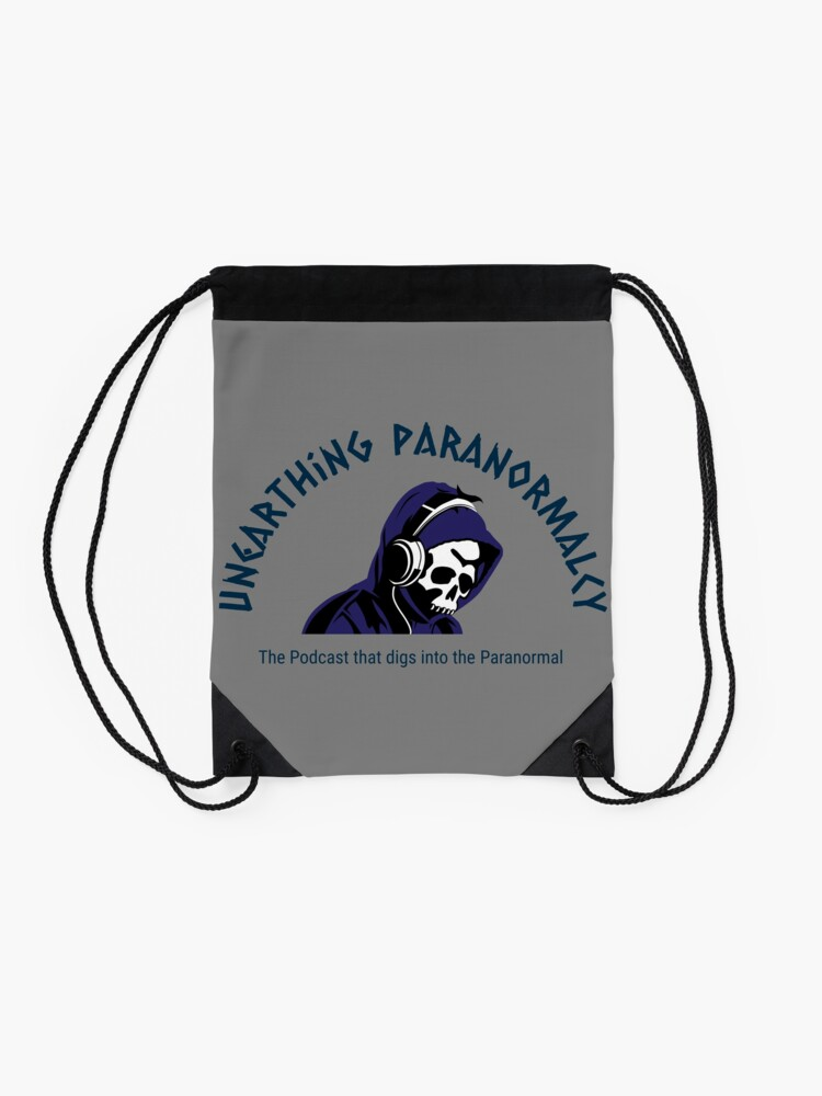 Alternate view of Podcast Merchandise for Unearthing Paranormalcy Drawstring Bag