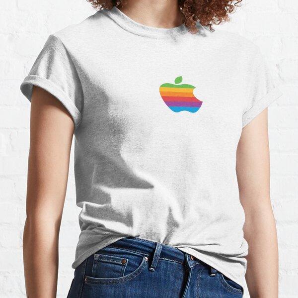 Logotipo retro de Apple Rainbow Camiseta clásica