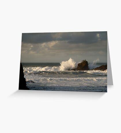 Crashing Waves at Trevone Bay Greeting Card