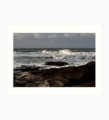 Rocks and Waves, Trevone Bay, Cornwall Art Print