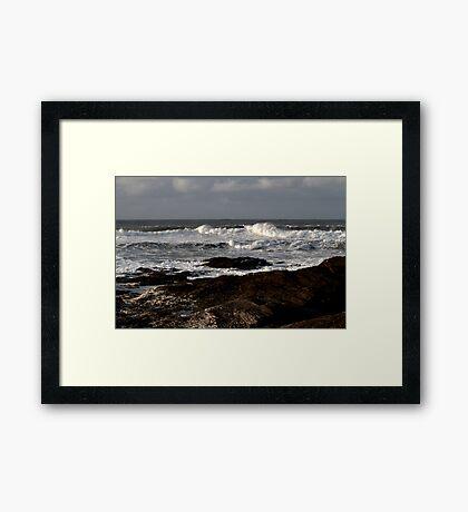 Rocks and Waves, Trevone Bay, Cornwall Framed Print