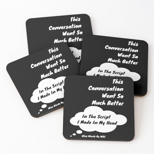 In My Head - White Text Coasters (Set of 4)