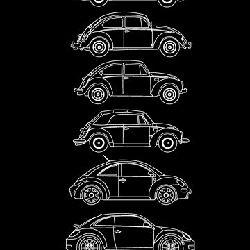 Evolution of the Volkswagen Beetle - for dark tees by sarahrulon